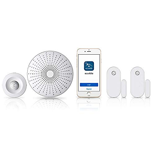 eco4life Smart Home DIY Wireless Smart Phone APP Control Alarm Security System Kit - Gateway Siren, Door/Window Sensor, Motion Sensor, Works with Alexa & Google Assistant & IFTTT, Easy to Install