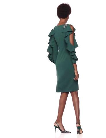 Adrianna Papell Women/'s Short Crepe Dress W// Long Ruffle Sleeves