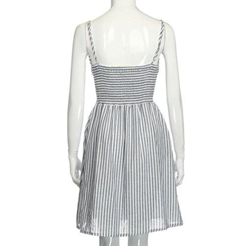 vovotrade gris blanco Las mujeres rayas algodón sin espalda Strapless vestido de tirantes de espagueti