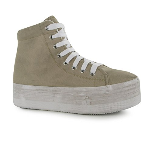 Jeffrey Campbell Play Canvas Wash Damen Plattform Hi Sneaker Plateau Turnschuhe Natural/White