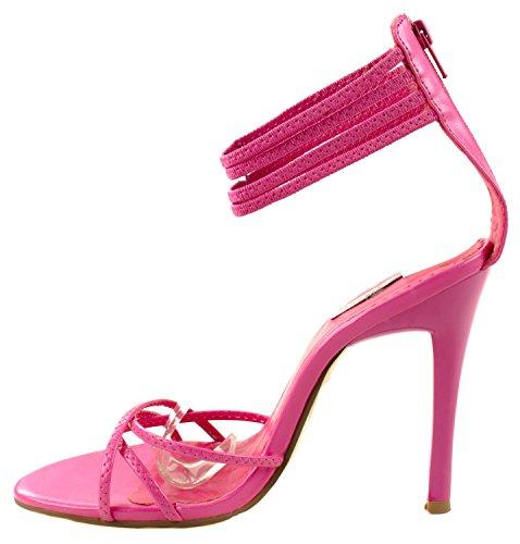 Fucsia Toe Zapatos mujeres en alto de 03 bombas talón Celeste grace de Longitud correas nbsp;abierto con tobillo HxdCTaqv