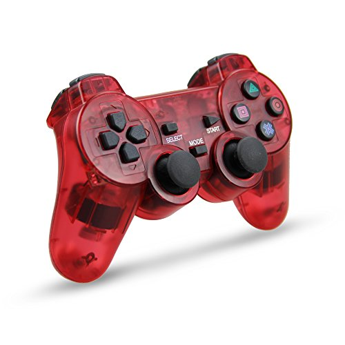 Wireless Game Controller, Double Shock Gamepad for Sony PS2 Playstation 2 (Clear (Playstation 2 Wireless Controller)