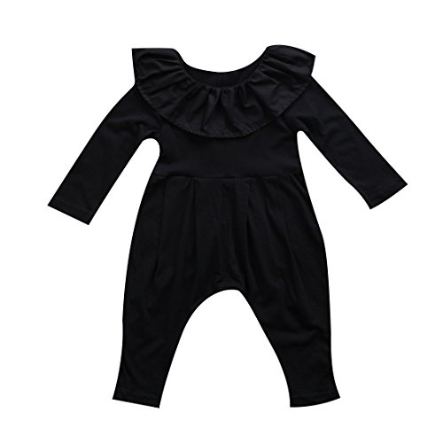 vely Button Up Romper Lotus Leaf Collar Bodysuit Outfit Black Long Sleeve Basic Coveralls (18-24M, Black) ()