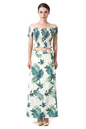 Holiday 2 Piece Outfit - GloryChoi Women's Floral Printed Corset Top Maxi Skirt Set 2 Piece Outfit Holiday Beach Dress (M)