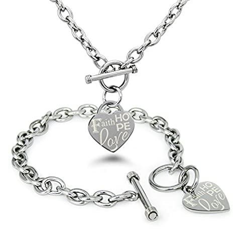 Stainless Steel Faith Love Hope Engraved Heart Tag Charm, Bracelet Necklace Set (Heart Toggle Chain Necklace)