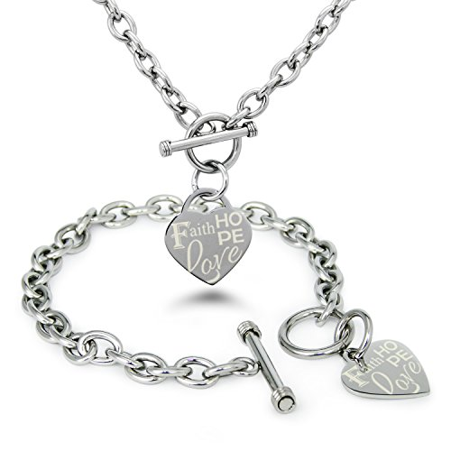 Stainless Steel Faith Love Hope Engraved Heart Tag Charm, Bracelet Necklace Set (Toggle Tiffany Heart Bracelet)