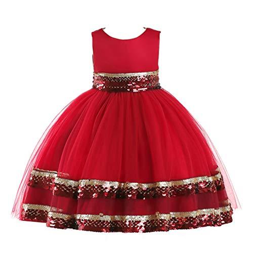 JIANLANPTT Elegant Kids Sequin Decor Sleeveless Tulle Party Dress for Toddler Flower Girls Wedding Dresses Red 6-7Years