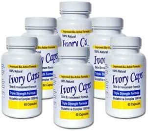Ivory Caps Skin Whitening Lightening Support Pill 1500 mg Glutathione , preventing darkening of skin pack of 6