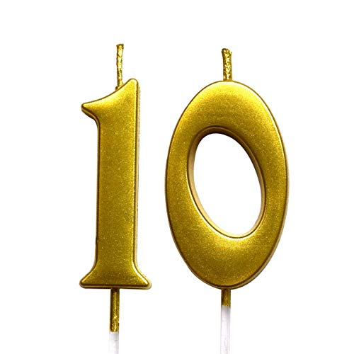 MAGJUCHE Gold 10th Birthday Numeral Candle, Number 10 Cake Topper Candles Party Decoration for Girl Or Boy (Tenth Birthday Candles)