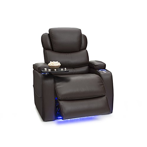Barcalounger Columbia Leather Gel Power Recliner with Adjustable Powered Headrests, in-Arm Storage, and USB Charging, Brown