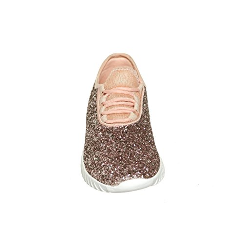 Womens up Glitter Fashion Lace Womens Lace Pink Sneaker dZSqt