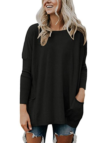 Pullover Knit Top (Luvamia Women's Black Casual Loose Crewneck Long Sleeves Pockets Pullover Knit Sweater Tops Size L)