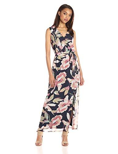 (Nine West Women's Bali Vines Printed Surplus Wrap Dress, Black/Multi, 10)
