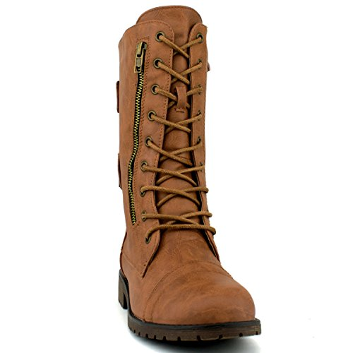 Top Moda Frauen-Pack-72 Lace Up Combat Boot Premier Tan