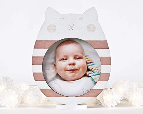 Cat Photo Frame Girls Room Decorations - Pink Nursery Decor Baby Picture frame, Children Room Decor, Wooden Home Decor, Baby Shower Gift, Newborn Gift