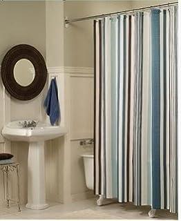 beige striped shower curtain. Moldiy Fabric Shower Curtain  Blue Stripes Amazon com Carnation Home Fashions EZ On