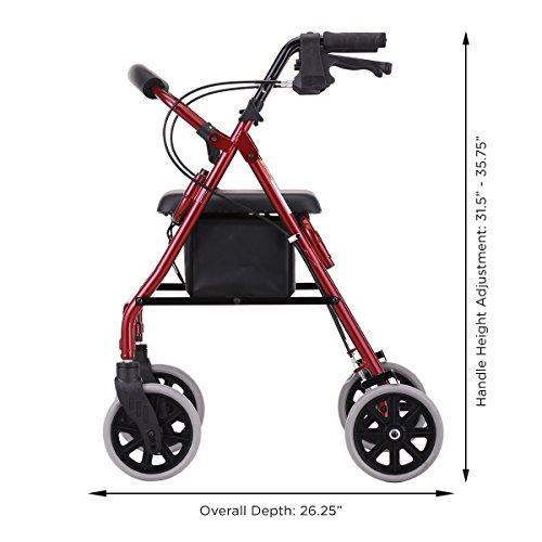 NOVA 22'' Zoom Rollator Walker, Red by NOVA Medical Products (Image #6)