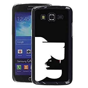 A-type Arte & diseño plástico duro Fundas Cover Cubre Hard Case Cover para Samsung Galaxy Grand 2 (Clever Modern Cat Dog Art In Yang Black)