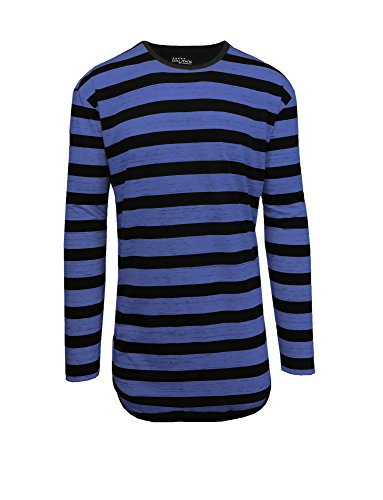 Galaxy by Harvic Men's Long Sleeves Striped Scallop Bottom T-Shirt