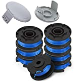 TOPEMAI AC14RL3A String Trimmer Replacement Spool Line 0.065' for Ryobi One+ 18V, 24V, and 40V Cordless Trimmers(8 Spools + 2 522994001 Caps)