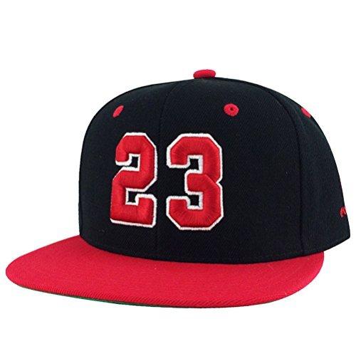 Number #23 Black Red Visor 2tone Snapback Hat Cap X Air Jordan 1 by CapRobot