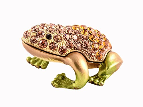 (Small Frog Trinket Box, Hand Set Topaz Swarovski Crystal, Hand Painted Brown Enamel Over Solid Pewter Base, Inside of Box with Lovely Enamel, Comes in Beautiful Gift Box, L 1.75 X H 1.00 X W 1.50)