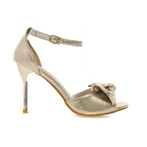 PU Sandals Toe Gold AmoonyFashion Heeled Heels Buckle Solid Peep High Womens YCR4qwz