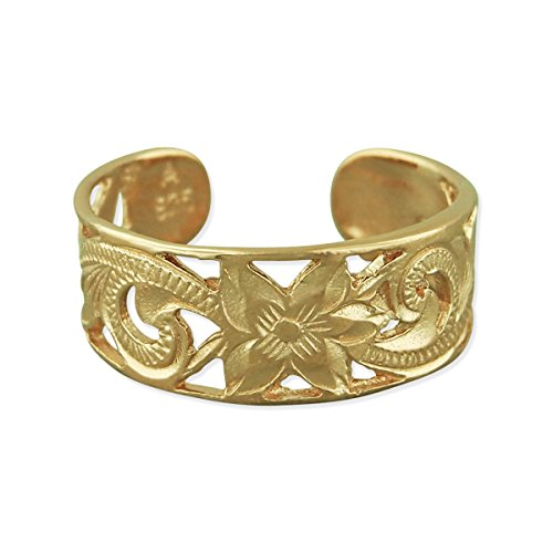 14kt Yellow Gold Plated Sterling Silver 6mm Filigree Band Toe Ring (Ring 14kt Filigree)