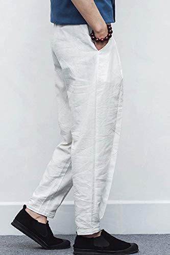 De Whitee Mens Élastique Lin Solides Poches Avec Couleurs Pantalons Locker Des Plage Ceinture Amayay Simple Occasionnelles Style Pantalon 40TFqSxFw