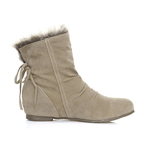 Allhqfashion Women's Frosted Pull-On Round Closed Toe Low-Heels Low-Top Boots Beige kVGa44Fm