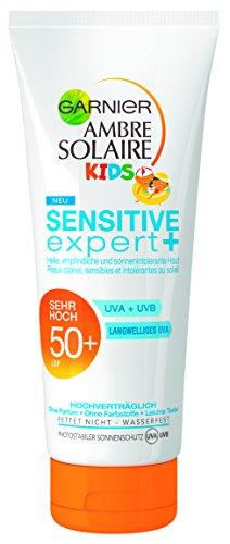 Garnier Ambre Solaire Sonnencreme Kinder Sensitive Expert+ / Sonnenschutz für Kinder wasserfest / LSF 50+ für empfindliche Haut, 1er Pack - 200 ml