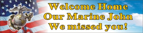 Alice Graphics 2ftX8ft Custom Personalized Welcome Home US (U.S.) Marine Corps Banner Sign Poster