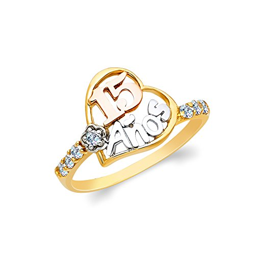 Ioka - 14K Tri Color Solid Gold 15 Anos Birthday CZ Heart Quinceanera Ring - Size 6 ()