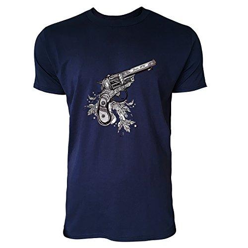 SINUS ART® Revolver mit Feder Dekoration Herren T-Shirts in Navy Blau Fun Shirt mit tollen Aufdruck