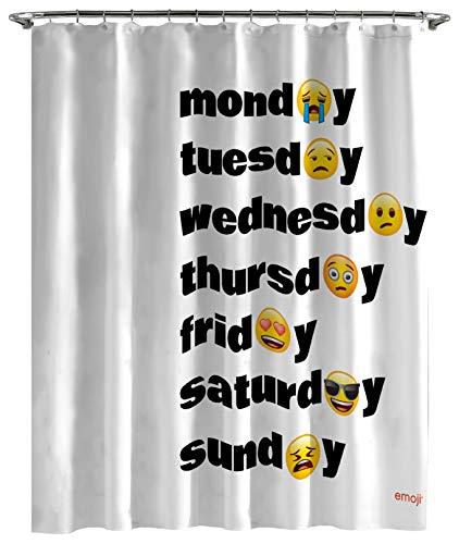 Jay Franco Emoji Days of The Week Shower Curtain & Easy Use - Kids Bath Features Sad & Happy Emoji (Official Emoji Product)