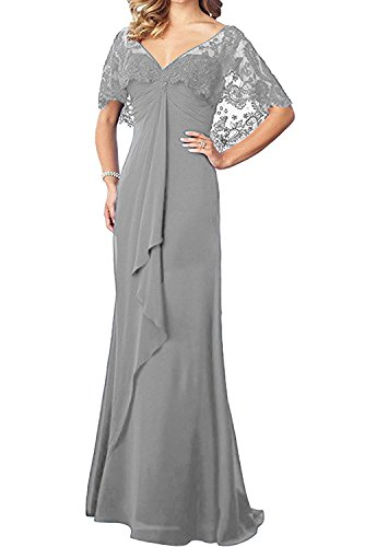 JINGDRESS Mother of The Bride Dress with Lace Shawl Chiffon Long Cloak Mother's Prom Evening Dressing Gowns