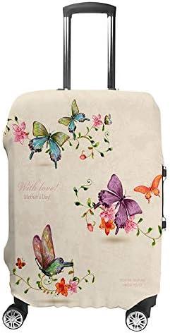 スーツケースカバー トラベルケース 荷物カバー 弾性素材 傷を防ぐ ほこりや汚れを防ぐ 個性 出張 男性と女性花にヴィンテージの蝶