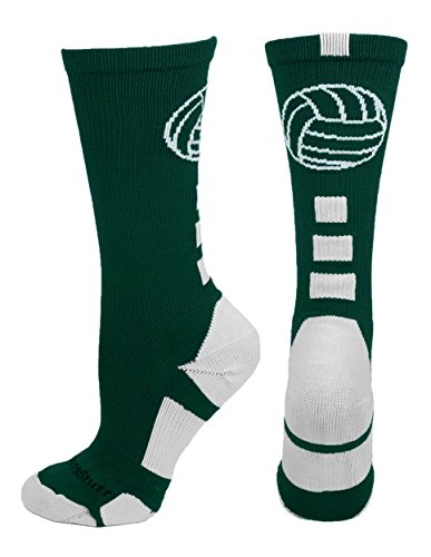 MadSportsStuff Volleyball Logo Crew Socks (Dark Green/White, Small)