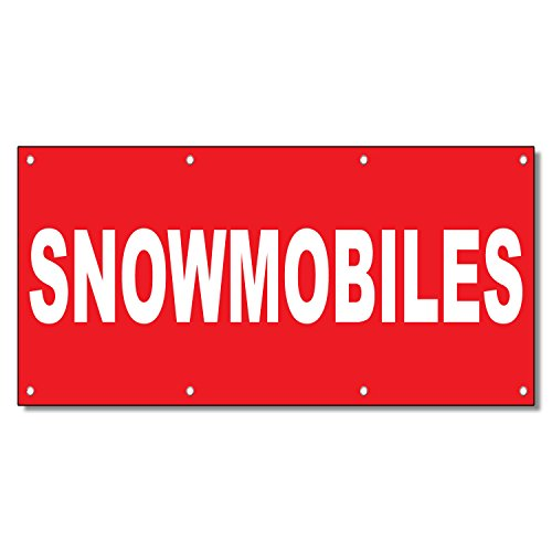 Snowmobiles Red Background 13 Oz Vinyl Banner Sign With Grommets 5 Ft x 12 - Red Snowmobiles