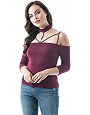 Khanomak Women's 3/4 Sleeve Open Off The Shoulder Strappy Choker Neckline Top