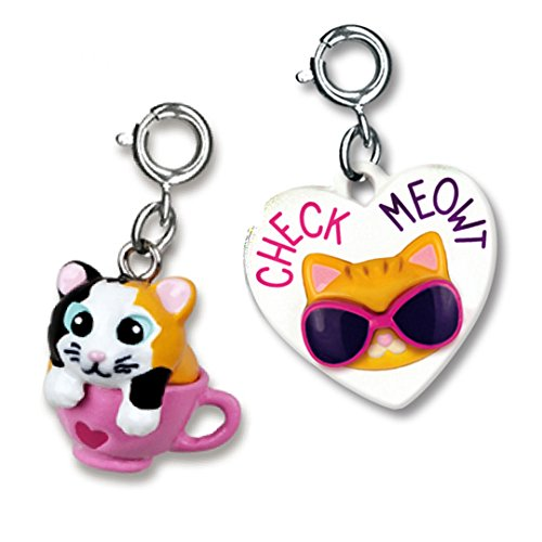 CHARM IT! Cool Cats Check Meowt and Kitten in a Cup 2 Charm Ribbon Bag Add on - Sunglasses Kitten In