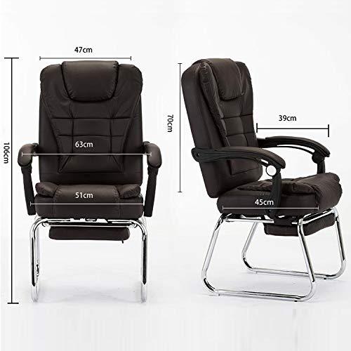GoYisi WKJ-122 QZ-7 hem modern enkel datorstol kontor chef stol konferensstol fotstöd vilstol (svart) (färg: svart) kaffe