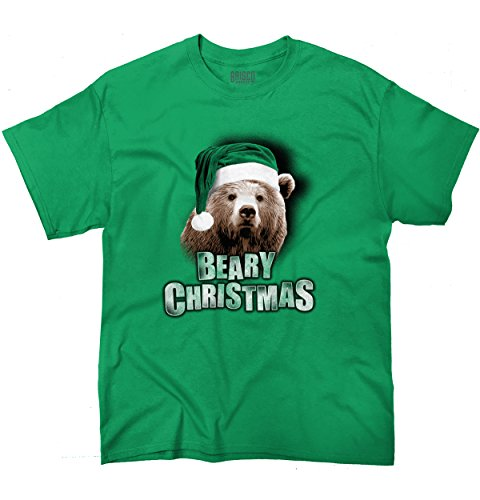 Brisco Brands Beary Christmas Trendy Cool Fashion Funny Bear Christmas T-Shirt Tee (Christmas Beary)