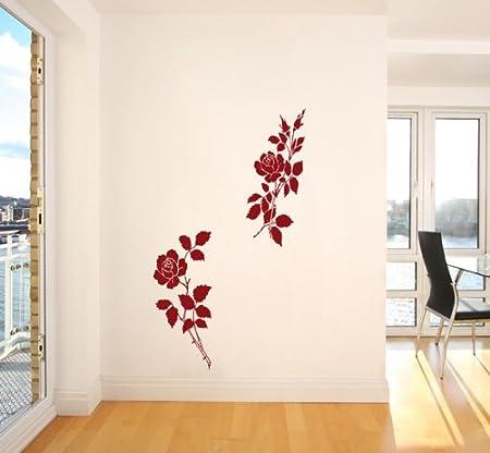 Autocollant 3021 Mural Roses Couleur Rouge Très Grand Format Largeur 60 Cm Hauteur 120 Cm Xxl Adhésif Mural Sticker Autocollants Muraux