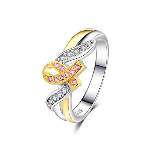 O-C Courage Strength Hope Faith Ring Pink Ribbon Breast Cancer Awareness Ring for Women