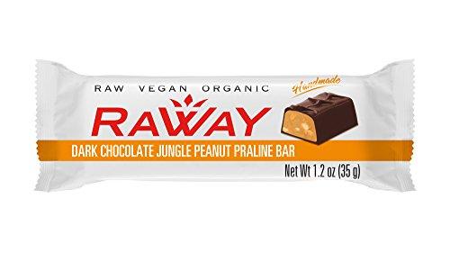 Raway Raw Vegan Chocolate Bars - Dark Chocolate Jungle Peanut Praline - Box 12 Bars by Raway