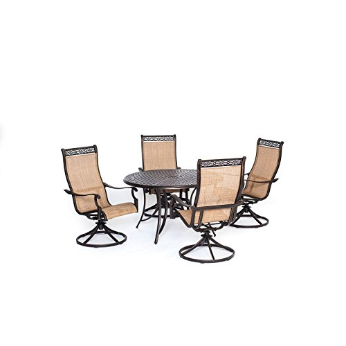 Hanover Manor 5 Piece Outdoor Dining Set with Four Swivel (Manor Chair)