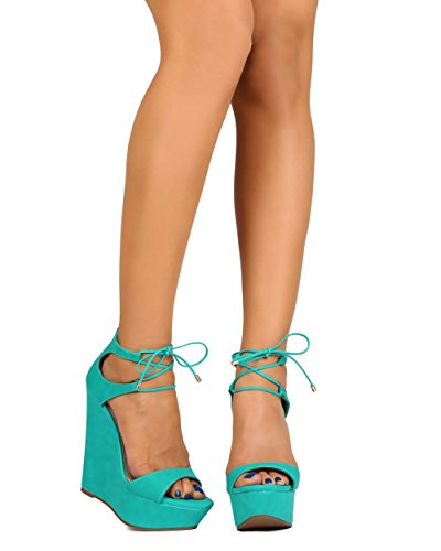 n Leatherette Peep Toe Ankle Wrap Wedge Sandal - Aqua (Size: 5.5) (Aqua Wedges)