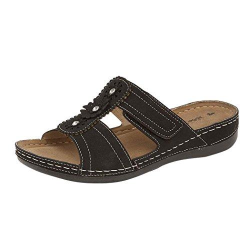 Señoras piel sintética Gezer Cut Out Summer slip on ligero bajo cuña Mule sandalias zapatos 3–8 Black.