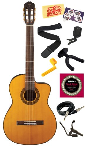 Takamine GC5CE Solid Spruce Top Cutaway Nylon String Classical Acoustic-Electric Guitar with Rosewood Fretboard Bundle with Strings, Capo, Strap, Instrument Cable, Wall Hanger, Tuner, Stringwinder, Picks, and Polishing Cloth - Natural